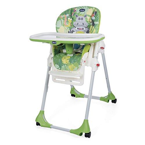 Chicco Polly Easy - Trona amplia, compacta y sencilla, 4 ruedas, para niños de 0 a 3 años, color verde