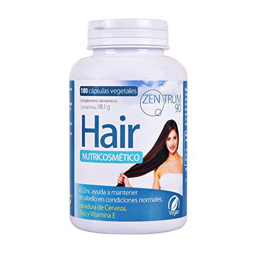 Complemento alimenticio de zinc, levadura de cerveza y vitamina E para ayudar a prevenir la caída del cabello – Suplemento de vitaminas para fortalecer el pelo – 180 cápsulas vegetales