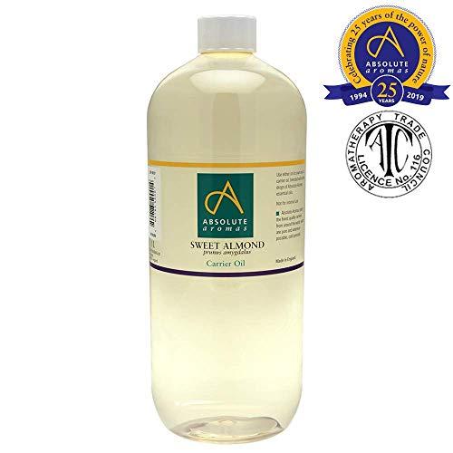 Aceite de almendras dulce 1L - Puro, natural, prensado en frío y sin crueldad animal. Vegano, sin OGM - Aceite para masajes e hidratante para el cabello, piel, cara y uñas